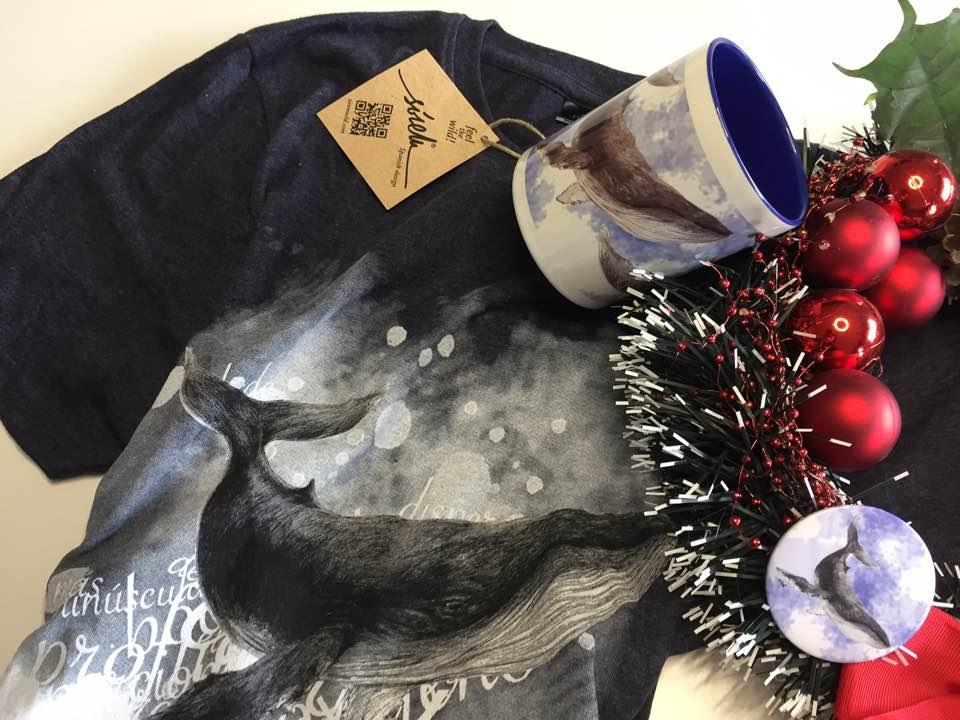 Pack Camiseta ecologica-Taza original-Iman animal-ballena-sirem wild