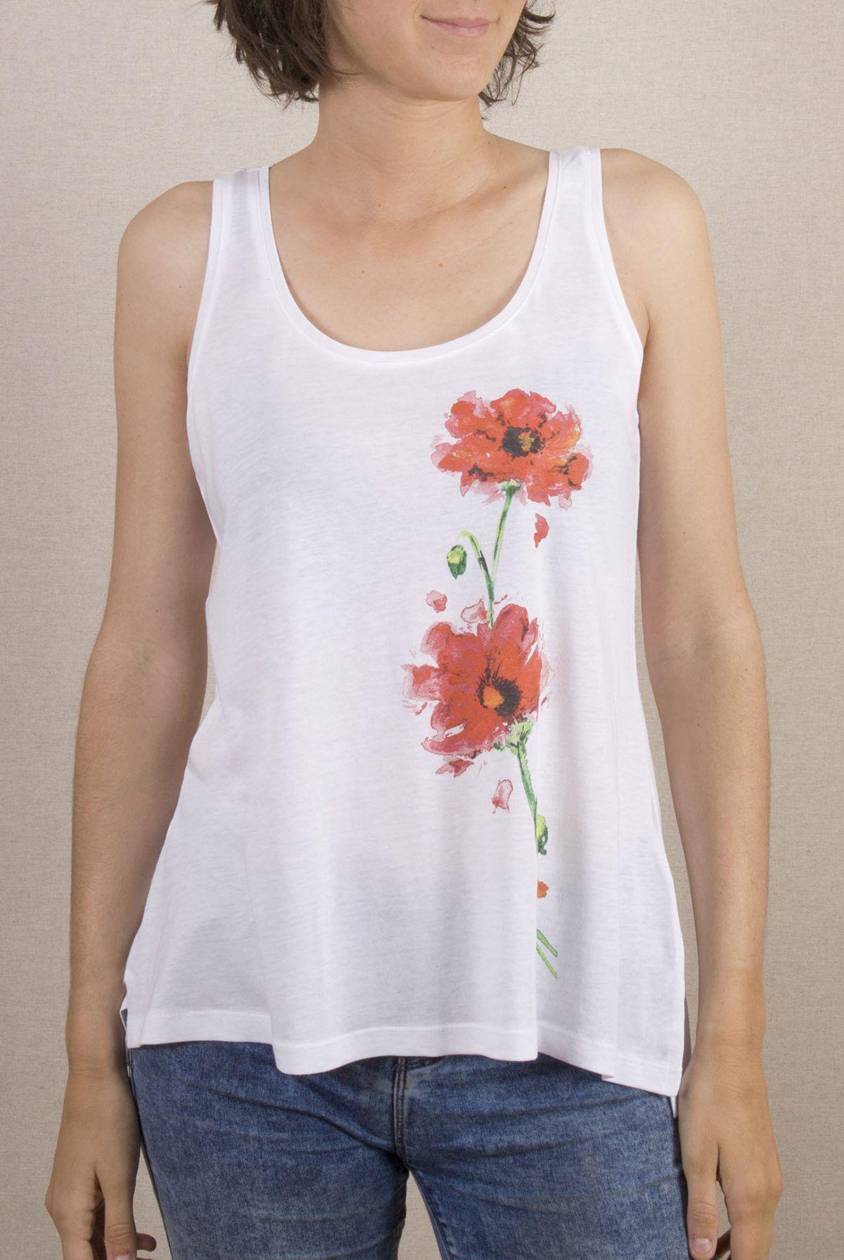 Camiseta Amapolas Mujer Tirantes