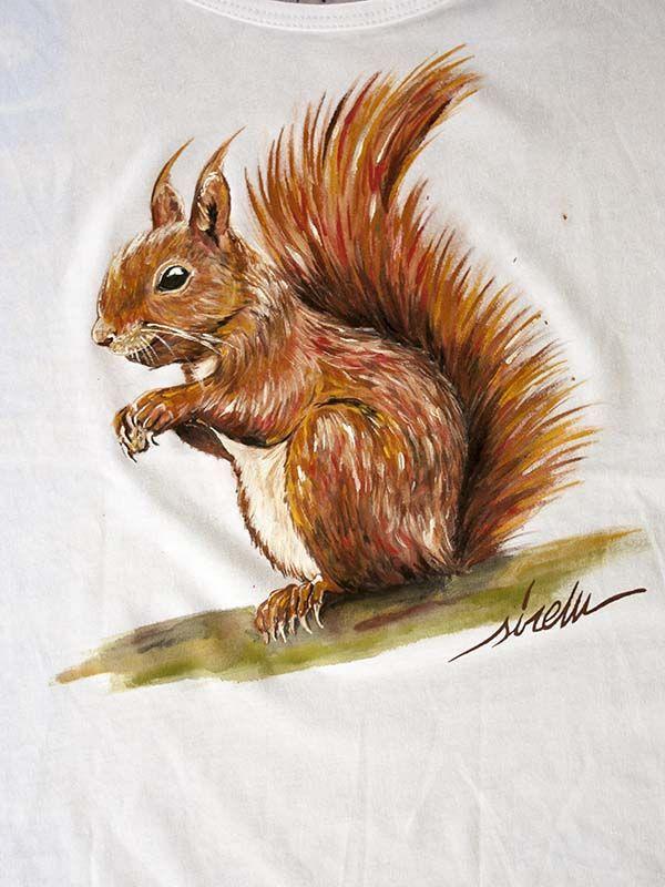 camiseta pintada a mano-sirem wild-ardilla