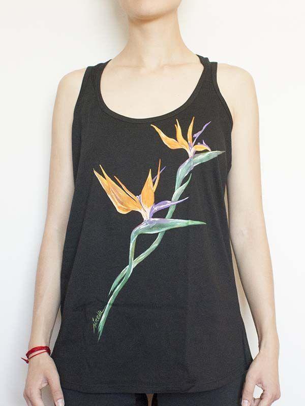 samarreta tirants pintada a mà-sirem wild-flor-strelitzia