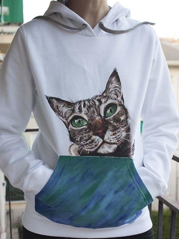 sudadera camiseta pintada a mano-sirem wild-gata-gato