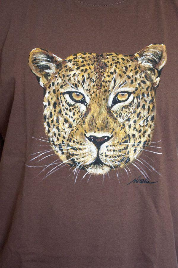 camiseta pintada a mano-sirem wild-leopardo