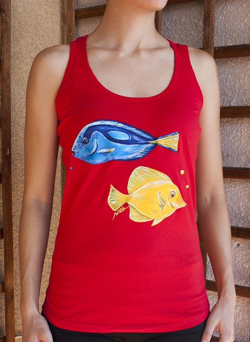 Camiseta Tirantes Peces Mujer S