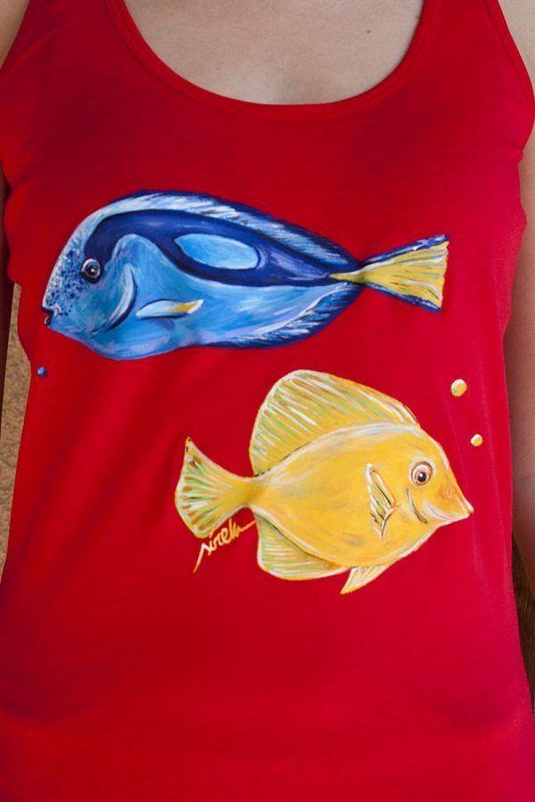 camiseta pintada a mano-sirem wild-peces-pez