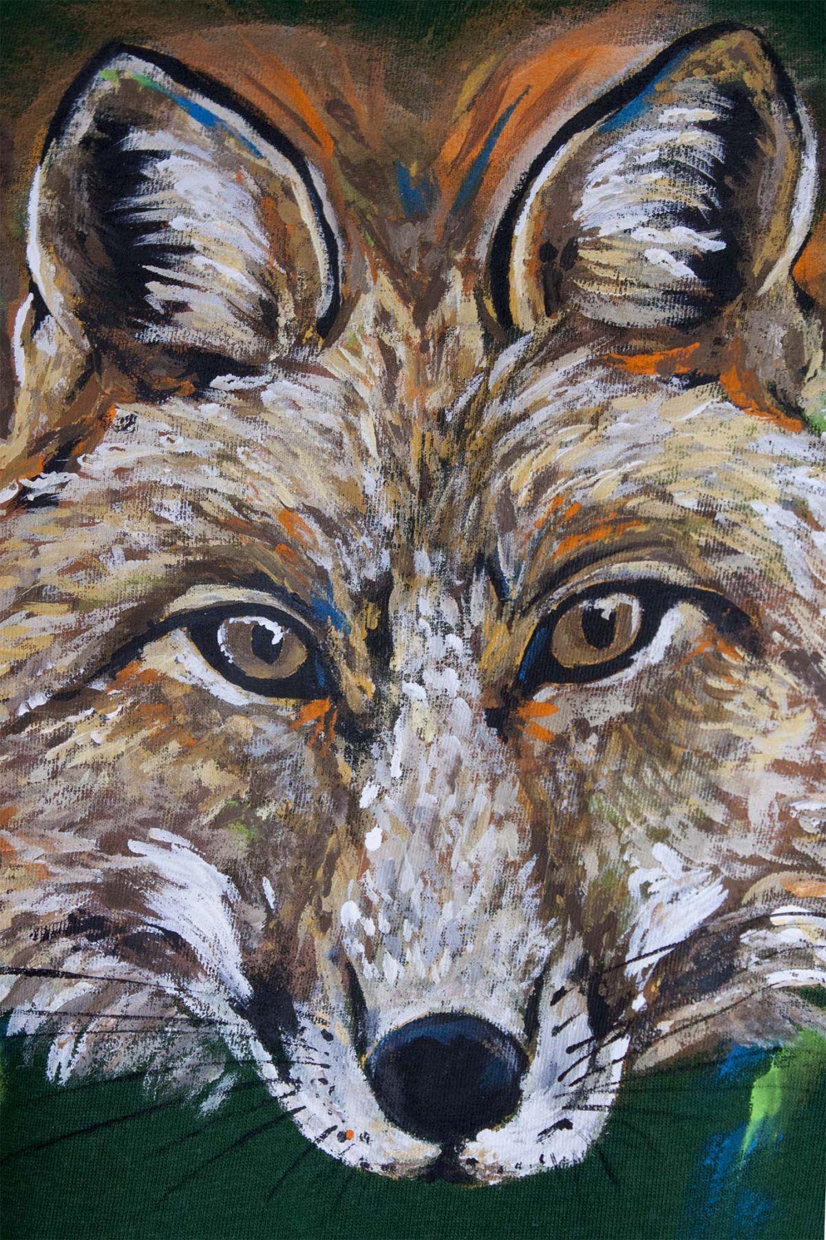 camiseta pintada a mano-sirem wild-zorro