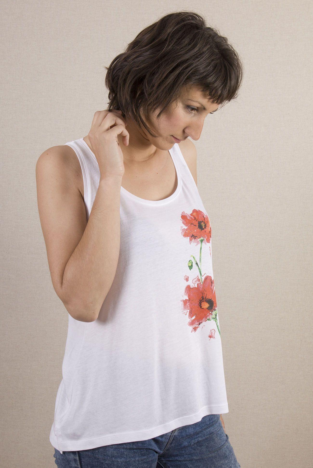 camiseta-ecologica-algodon organico-tencel-amapolas-mujer-blanca-tirantes-sirem wild