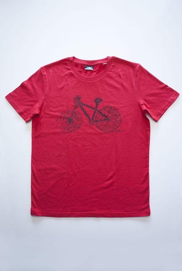 camiseta bicicleta roja-algodon organico-sirem wild-moda sostenible