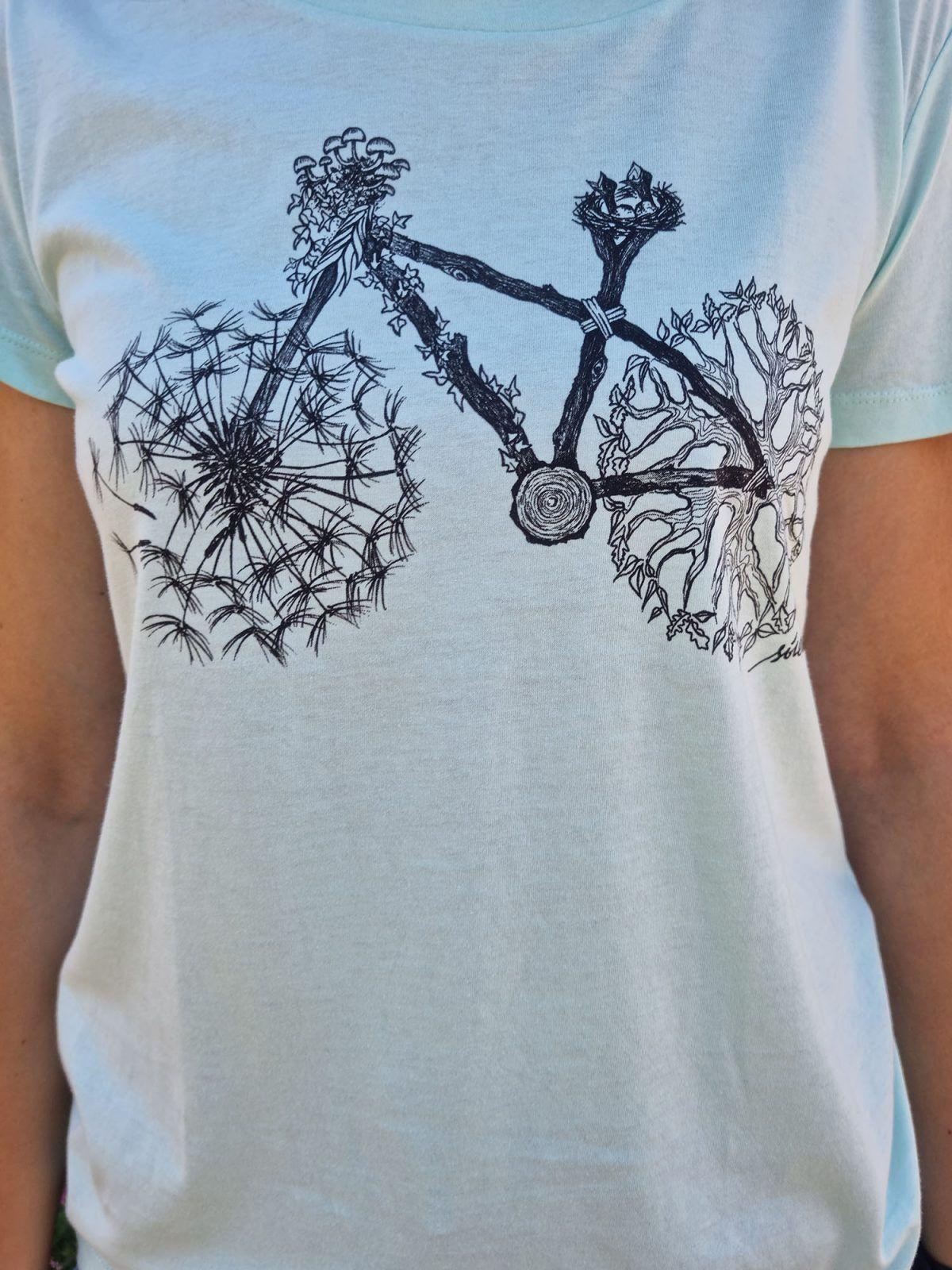 Camiseta mujer bici manga corta turquesa-sirem wild