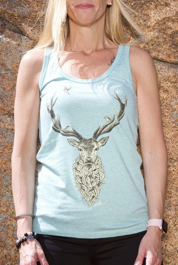 sirem wild-camiseta ecologica-algodon organico-ciervo-moda sostenible-tirantes