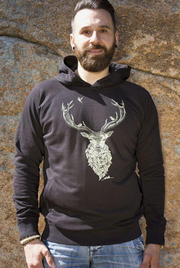 sudadera ciervo-algodon organico-sirem wild-moda sostenible