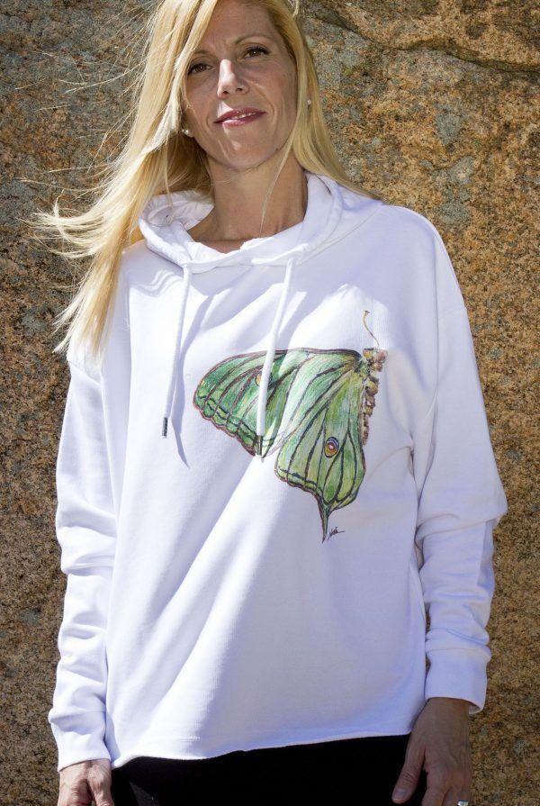sudadera mariposa graellsia isabellae-algodon organico-sirem wild-moda sostenible
