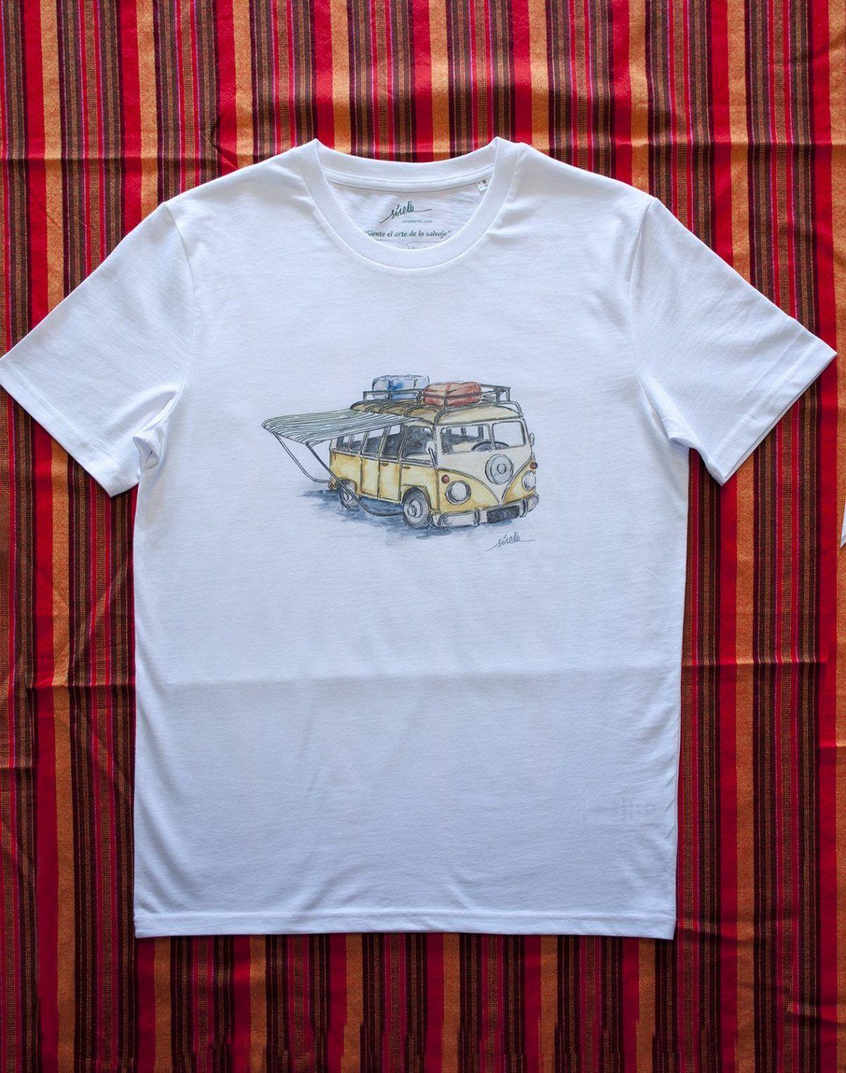 camiseta furgoneta camper-algodon organico-sirem wild-hombre manga corta