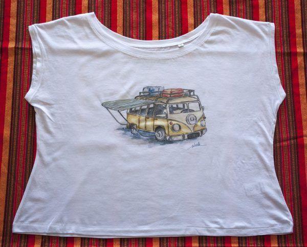camiseta furgoneta camper-algodon organico-sirem wild-mujer manga corta