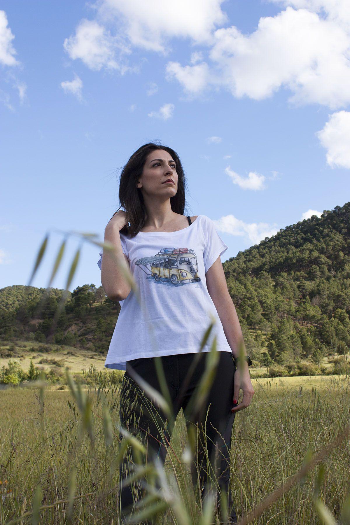 camiseta-furgoneta camper vw-algodon organico-sirem wild-moda etica