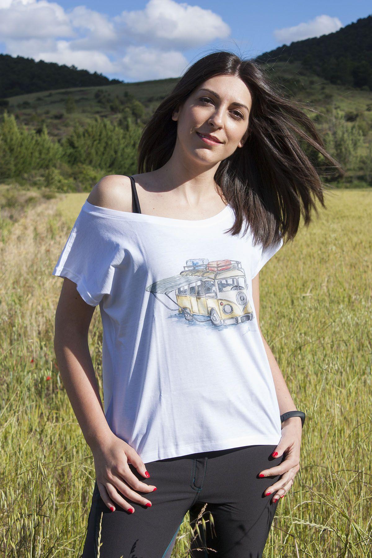 camiseta-furgoneta camper vw-algodon organico-sirem wild-moda sostenible