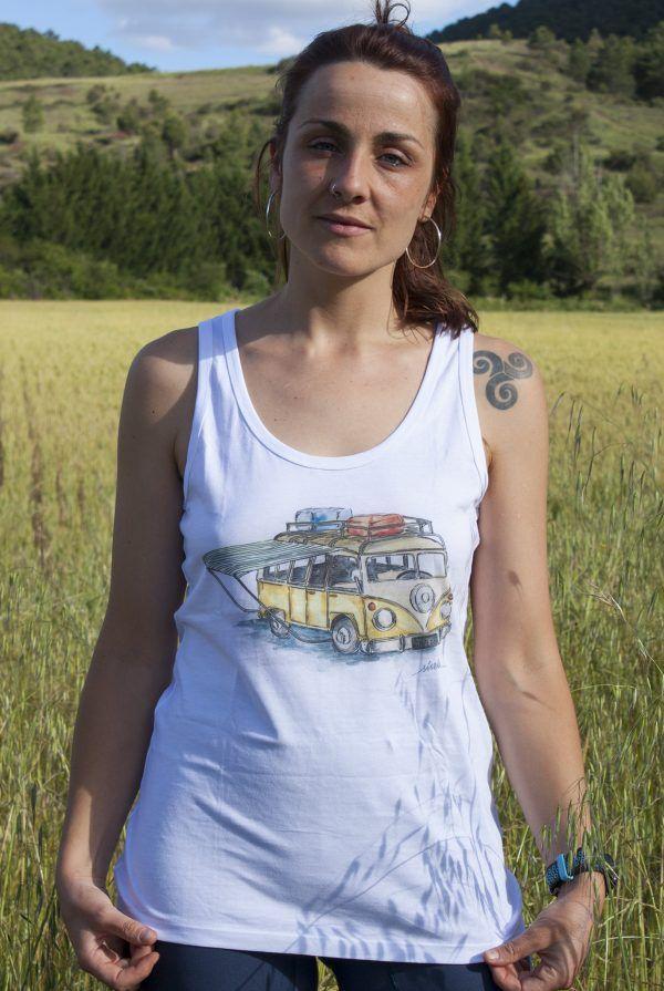 camiseta-furgoneta vw-algodon organico-sirem wild-moda etica-mujer tirantes