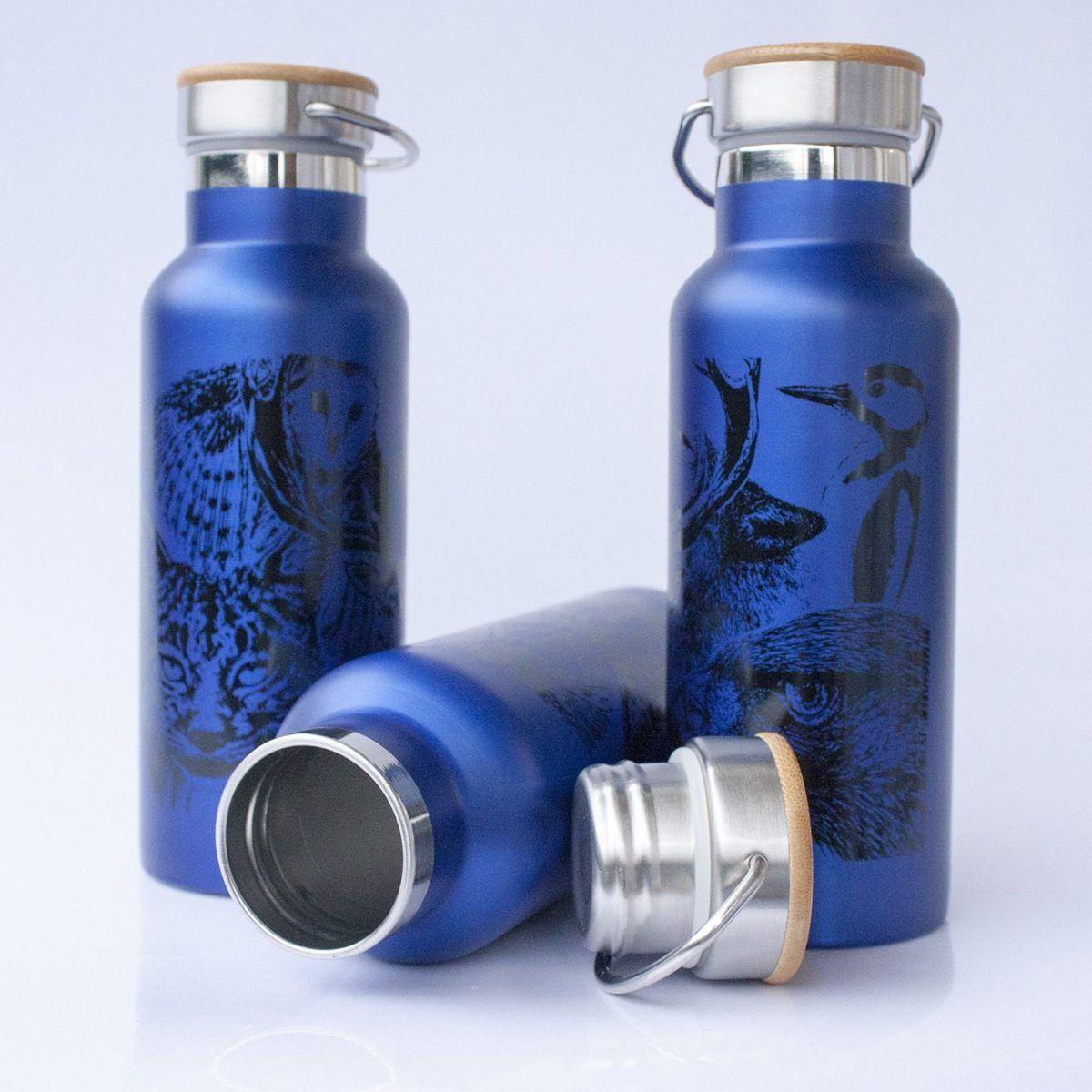 botella termo reutilizable-acero inoxidable-500ml-dibujos animales-zero waste-azul