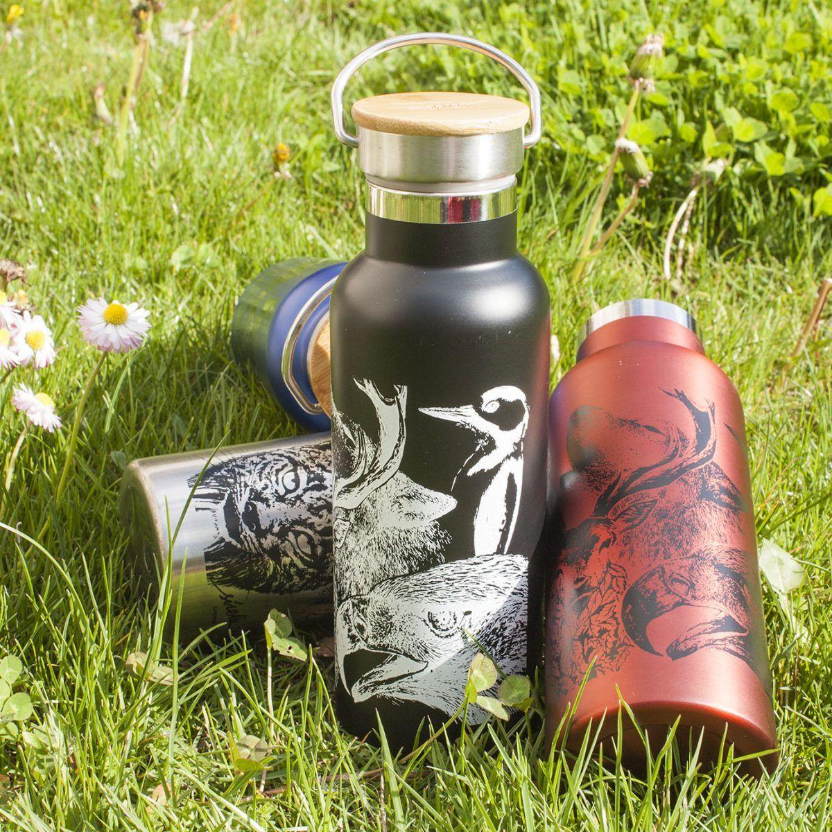 botella termo reutilizable-acero inoxidable-500ml-dibujos animales-zero waste-negra-roja-azul-gris plata-tapon bambu-sirem wild