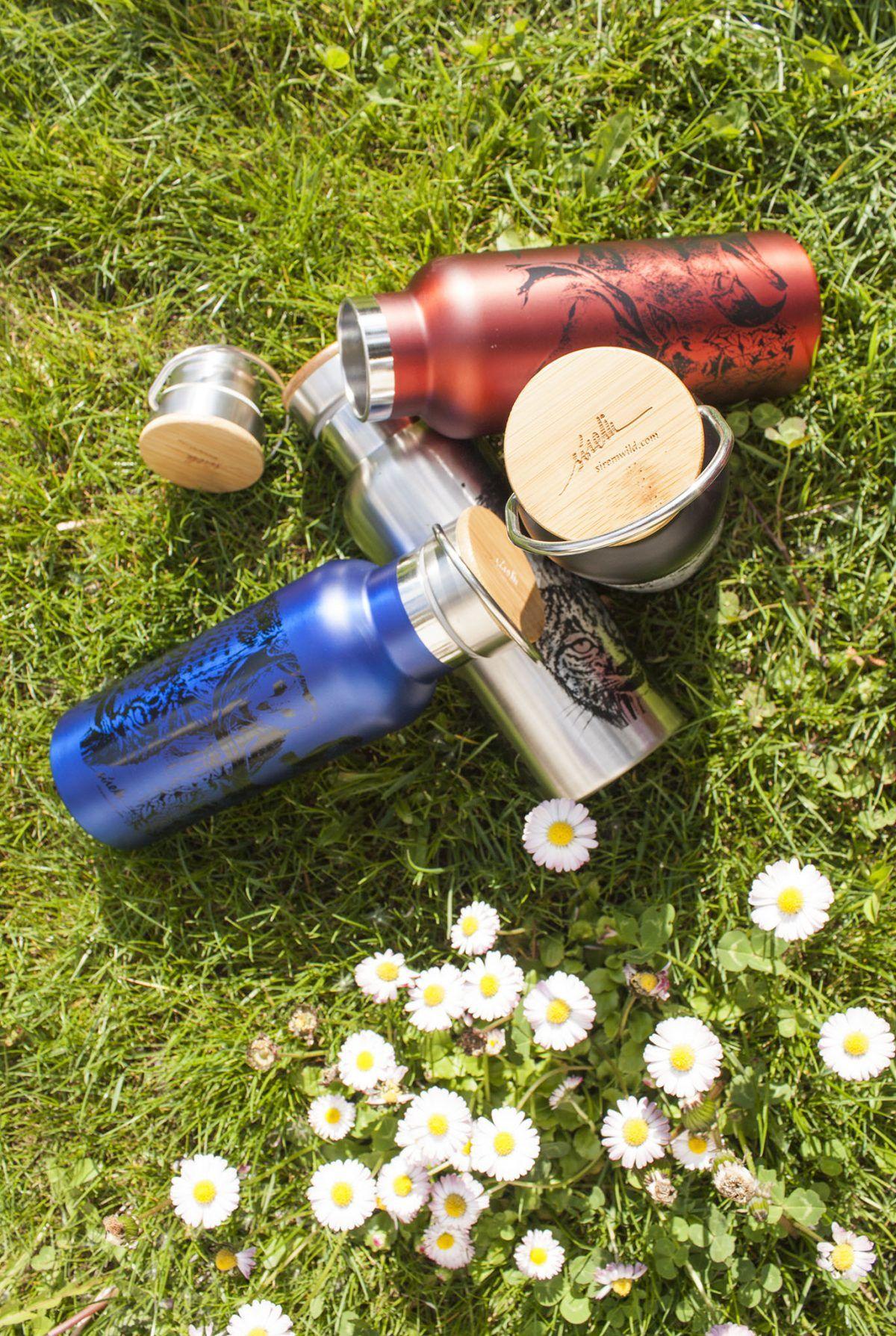 botella termo reutilizable-acero inoxidable-500ml-dibujos animales-zero waste-negra-roja-azul-gris plata-tapon bambu-sirem wild-animales