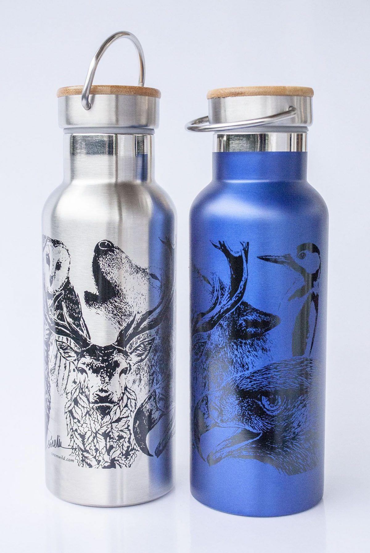 botella termo reutilizable-acero inoxidable-500ml-dibujos animales-zero waste-plata-azul