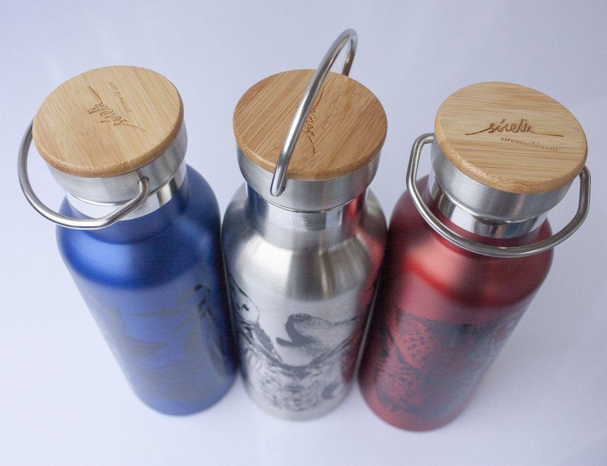 botella termo reutilizable-acero inoxidable-500ml-dibujos animales-zero waste-plata-azul-roja-tapon bambu