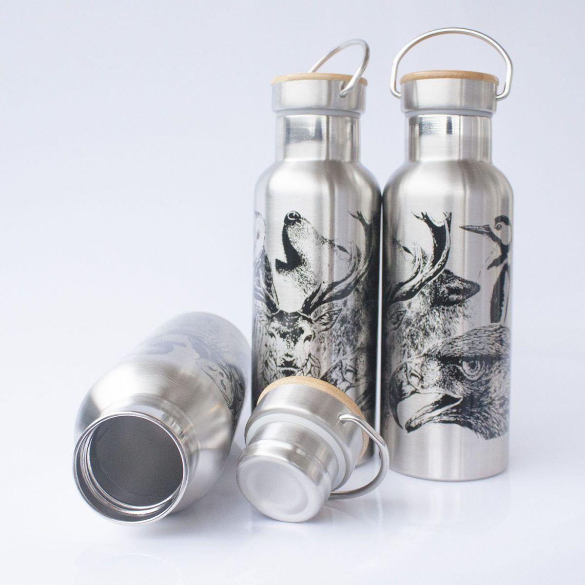 botella termo reutilizable-acero inoxidable-500ml-dibujos animales-zero waste-plata gris