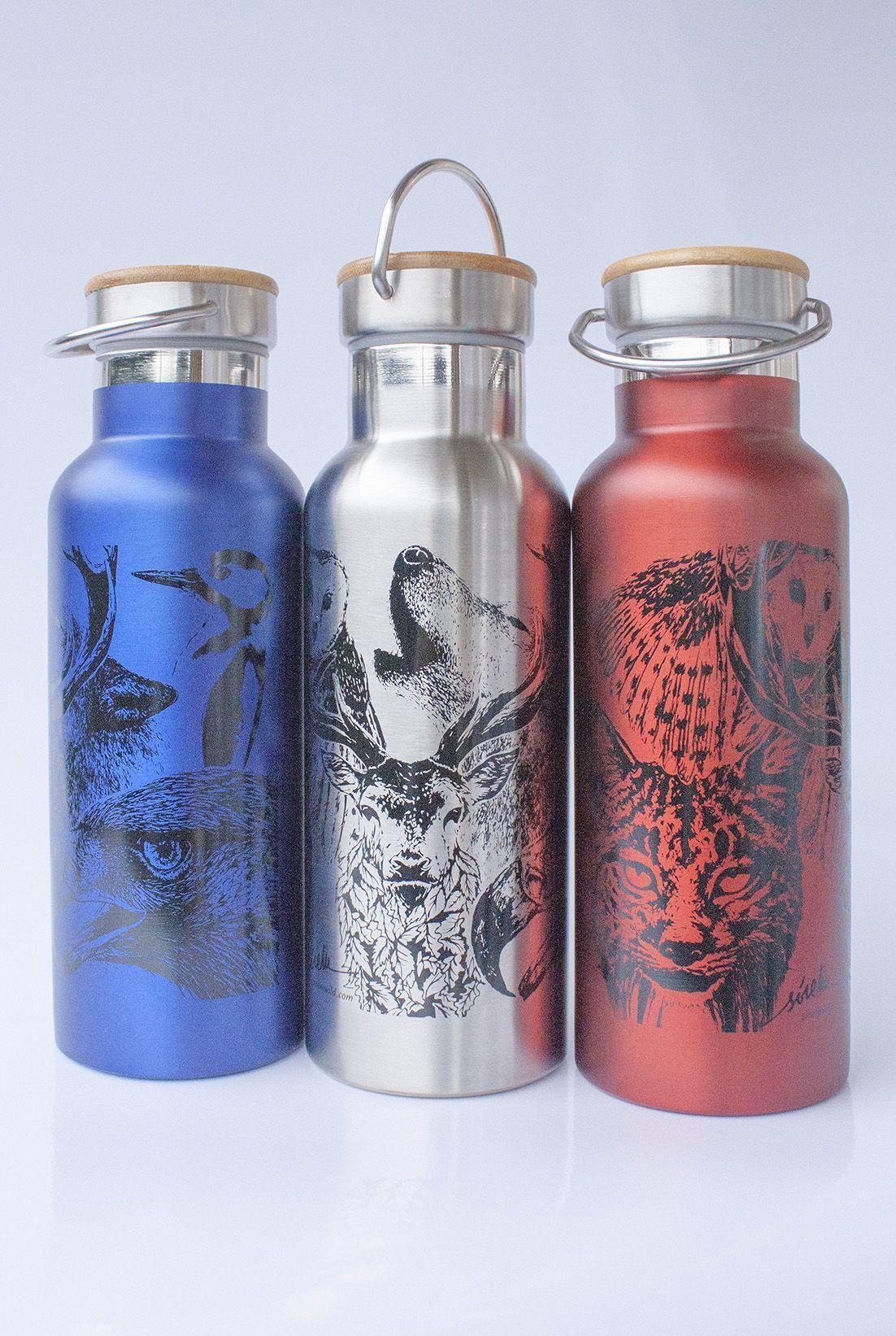 botella termo reutilizable-acero inoxidable-500ml-dibujos animales-zero waste-plata gris-azul-roja-tapon bambu