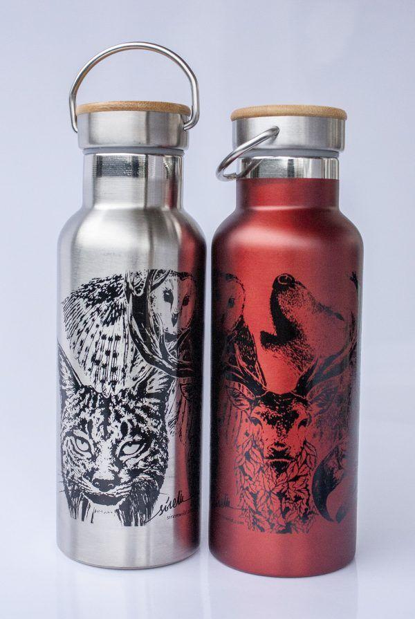 botella termo reutilizable-acero inoxidable-500ml-dibujos animales-zero waste-plata gris-roja-tapon bambu
