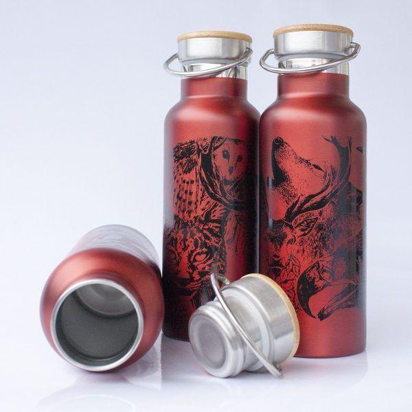 botella termo reutilizable-acero inoxidable-500ml-dibujos animales-zero waste-roja