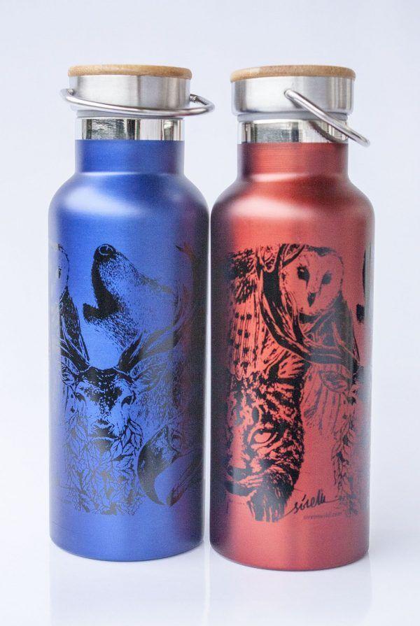 botella termo reutilizable-acero inoxidable-500ml-dibujos animales-zero waste-roja-azul