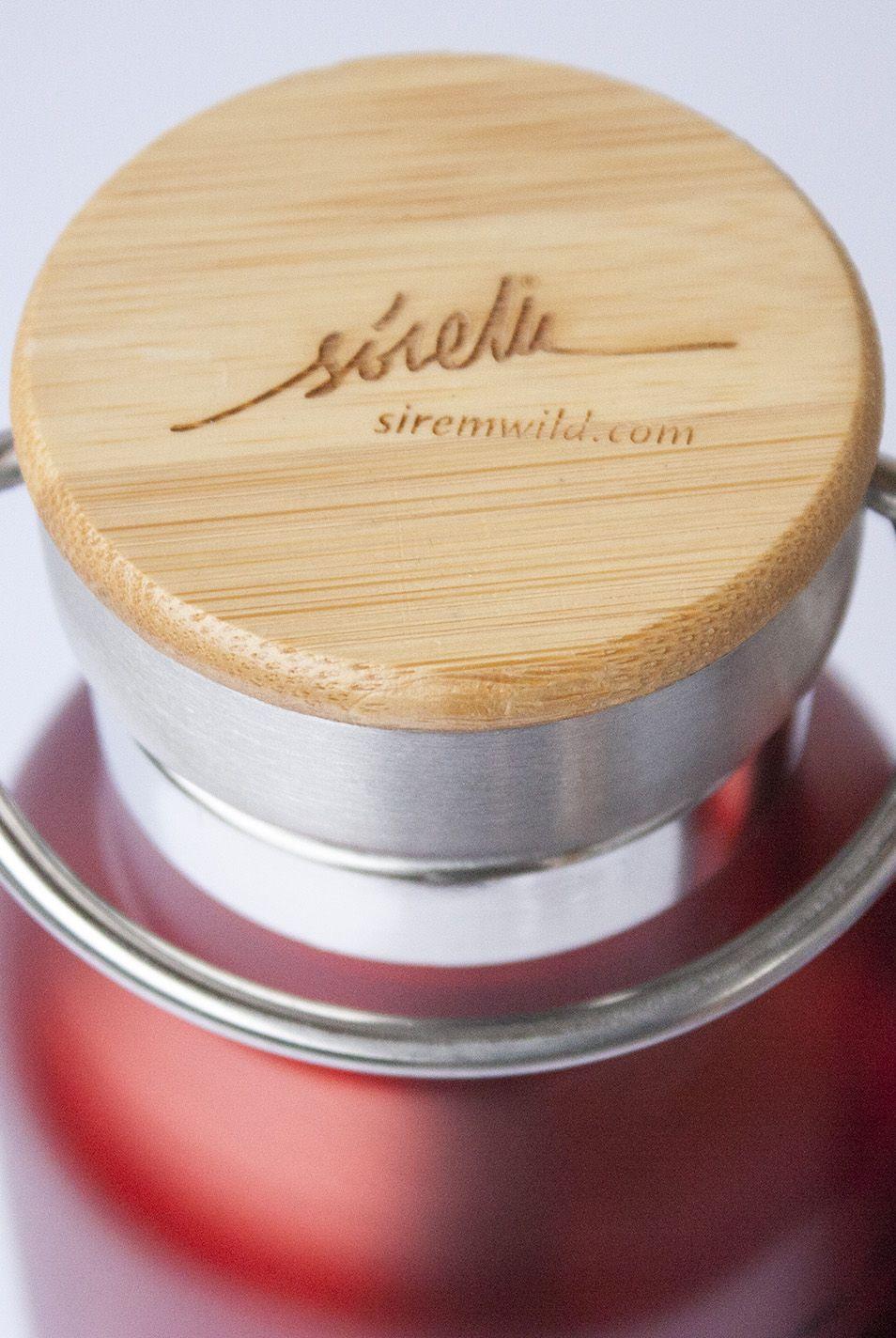 botella termo reutilizable-acero inoxidable-500ml-dibujos animales-zero waste-roja-tapon bambu