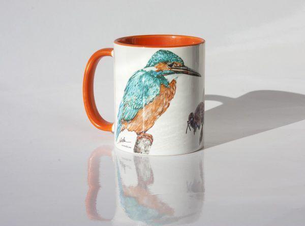 taza-martin pescador-abejaruco-abeja-pajaro-aves-animales-sirem wild-naranja