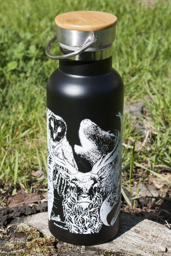 botella termo reutilizable-acero inoxidable-500ml-dibujos animales-zero waste-negra-tapon bambu-sirem wild-dibujos animales-ciervo-aguila-lince-picapinos-lobo-lechuza