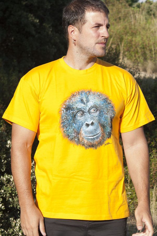 camiseta pintada a mano personalizada-orangutan-hombre unisex-sirem wild-algodon