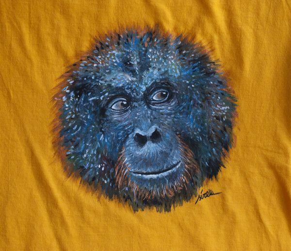 camiseta pintada a mano personalizada-orangutan-hombre unisex-sirem wild