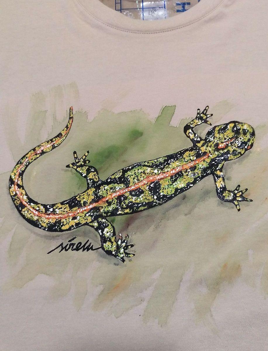 triton jaspeado-Triturus marmoratus-sirem wild-camiseta pintada a mano