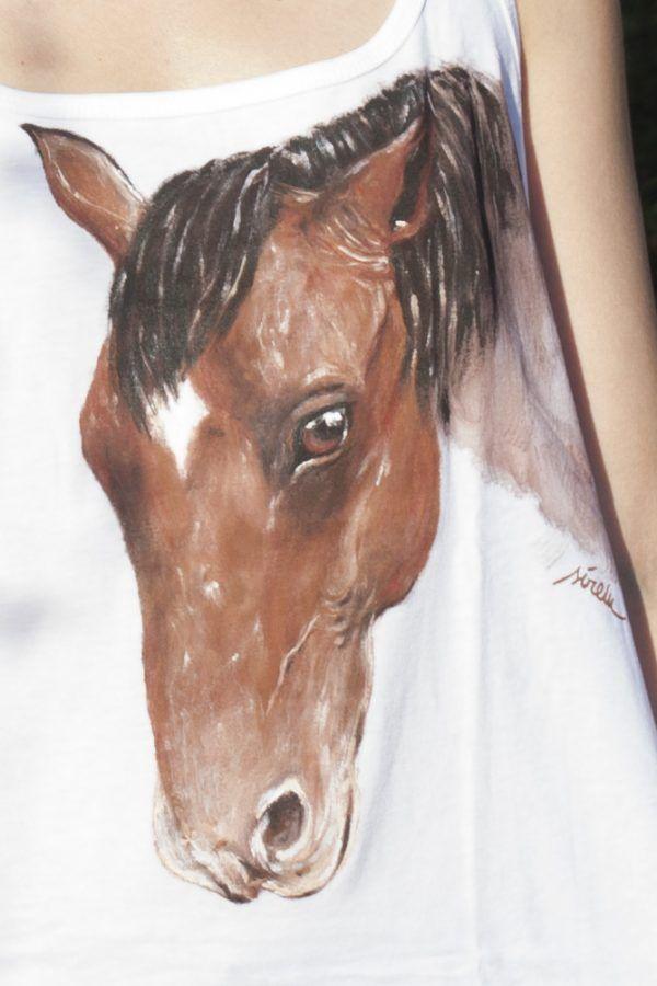 camiseta mujer caballo tirantes-pintada a mano-personalizada-algodon-sirem wild