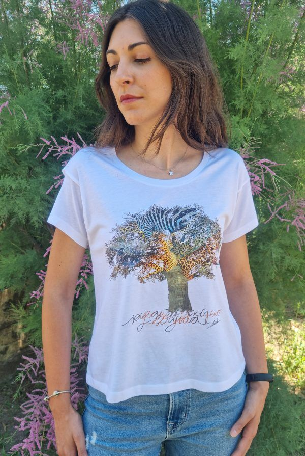 Camiseta mujer Baobab manga corta blanca-sirem wild