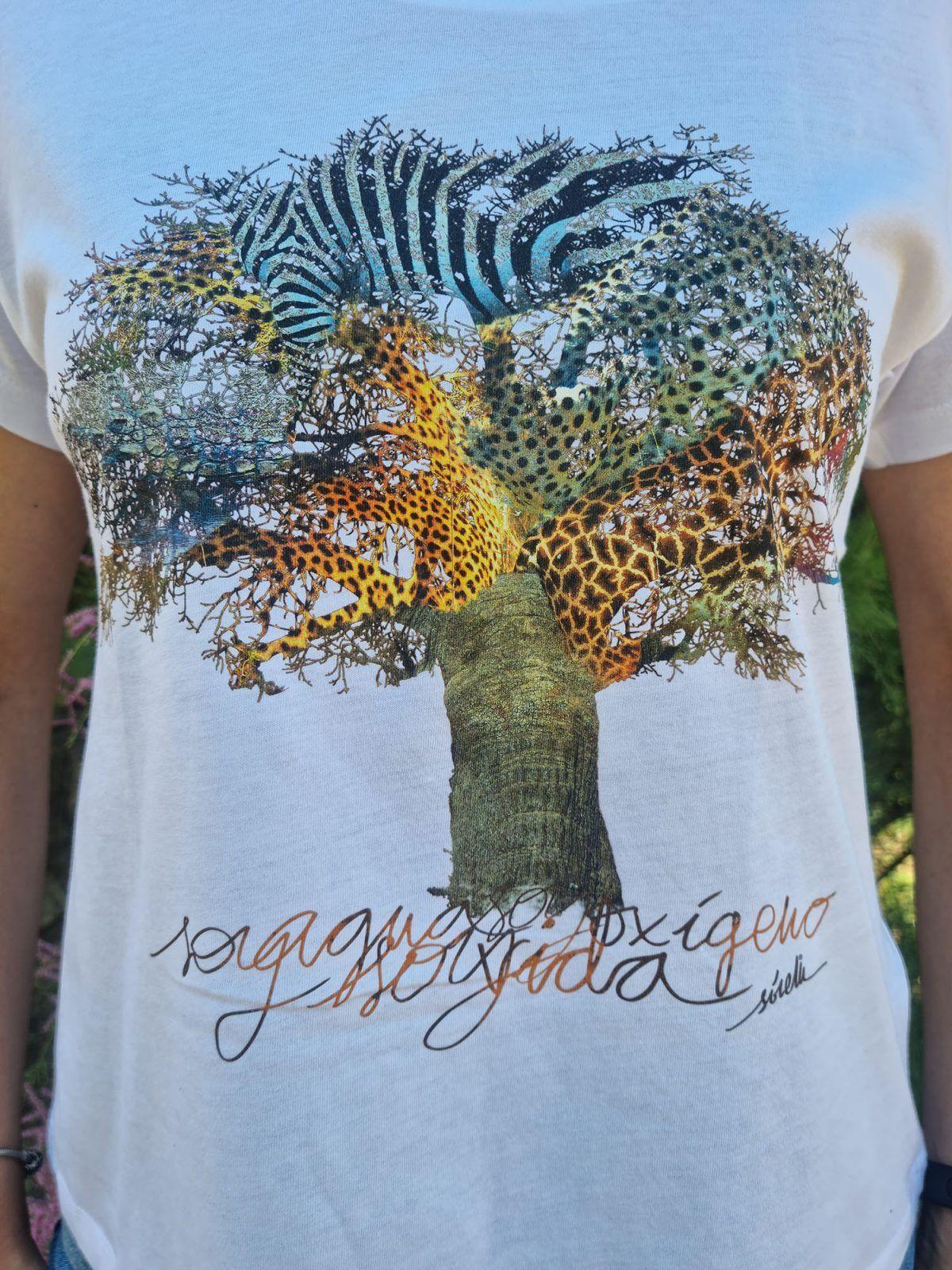 Camiseta mujer Baobab manga corta blanca-sirem wild-africa