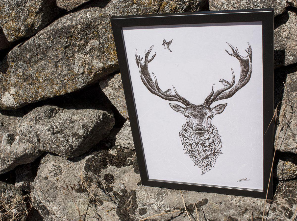 dibujo ciervo naturaleza original-sirem wild