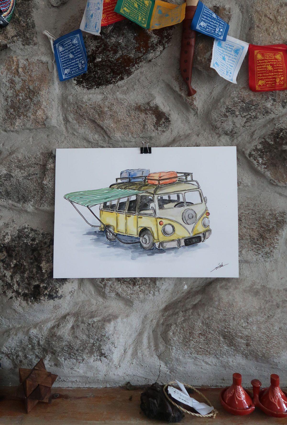 dibujo furgoneta bulli acuarela ilustracion-sirem wild